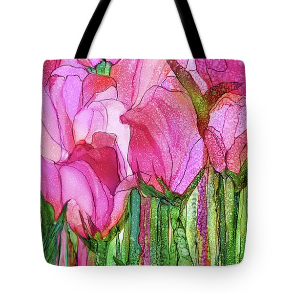 Tote Bag featuring the mixed media Tulip Bloomies 4 - Pink by Carol Cavalaris