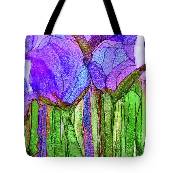Tote Bag featuring the mixed media Tulip Bloomies 4 - Purple by Carol Cavalaris