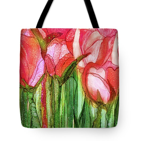 Tote Bag featuring the mixed media Tulip Bloomies 4 - Red by Carol Cavalaris