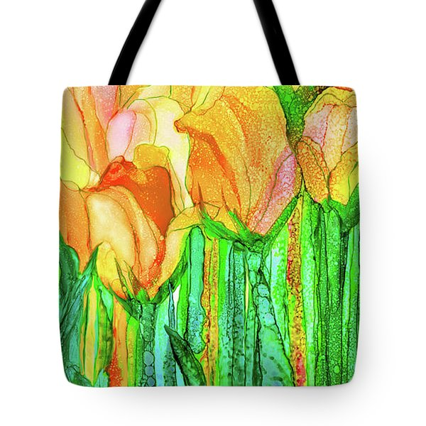 Tote Bag featuring the mixed media Tulip Bloomies 4 - Yellow by Carol Cavalaris