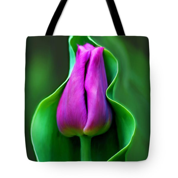 Tulip Cradled In Leaf Tote Bag
