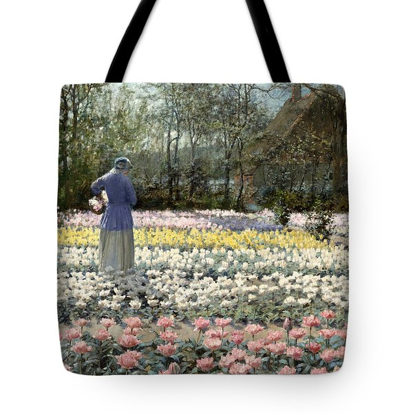 Tote Bag featuring the painting Tulip Culture by George Hitchcock