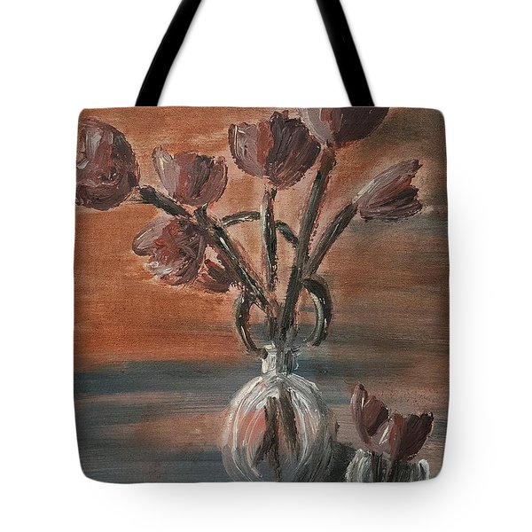 Tulip Flowers Bouquet In Two Round Water Filled Small Globe Shaped Vases On A Table Still Life Of Bo Tote Bag