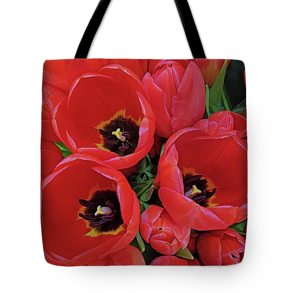 Tote Bag featuring the photograph Tulip Parade by Suzy Piatt