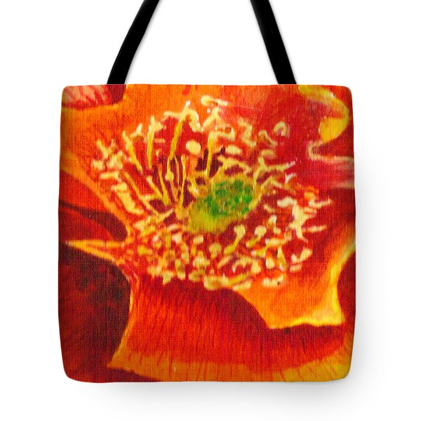 Tote Bag featuring the painting Tulip Prickly Pear by Eric Samuelson