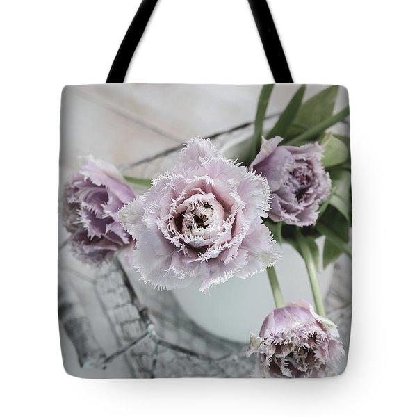 Tote Bag featuring the photograph Tulip Ruffles by Kim Hojnacki