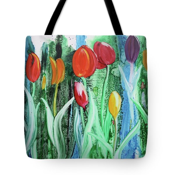 Tote Bag featuring the painting Tulip Season by Nancy Jolley