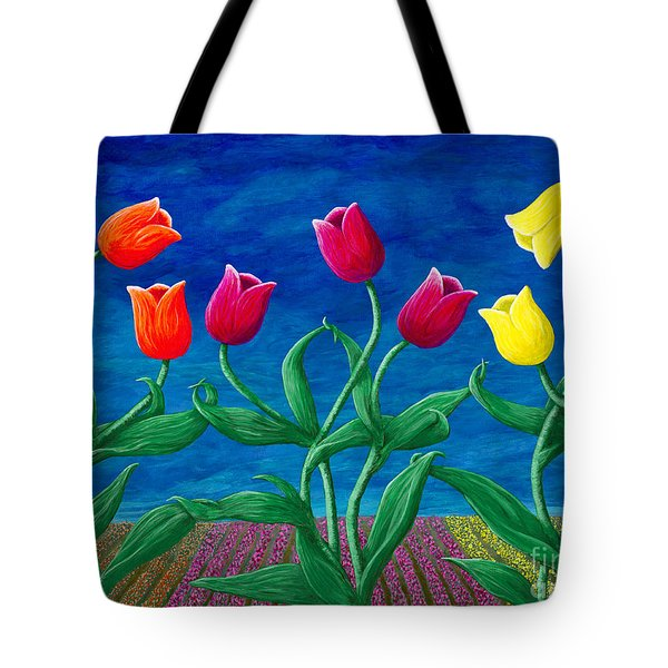 Tote Bag featuring the painting Tulip Tango by Rebecca Parker