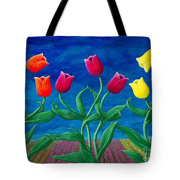 Tulip Tango Tote Bag by Rebecca Parker