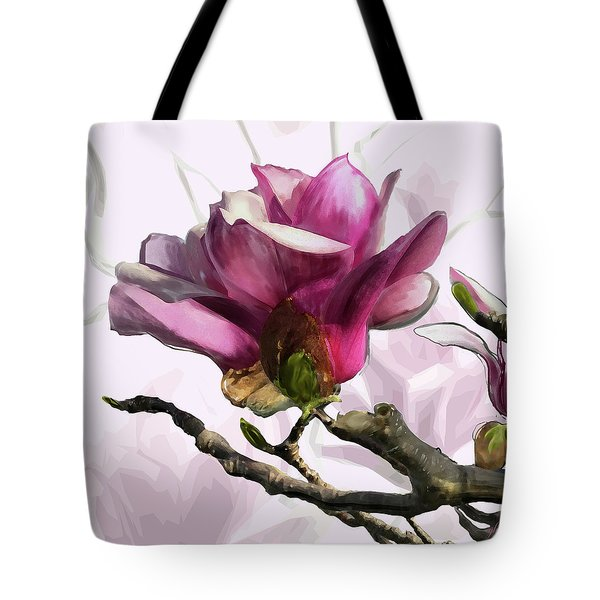 Tote Bag featuring the digital art Tulip Trees by Gina Harrison