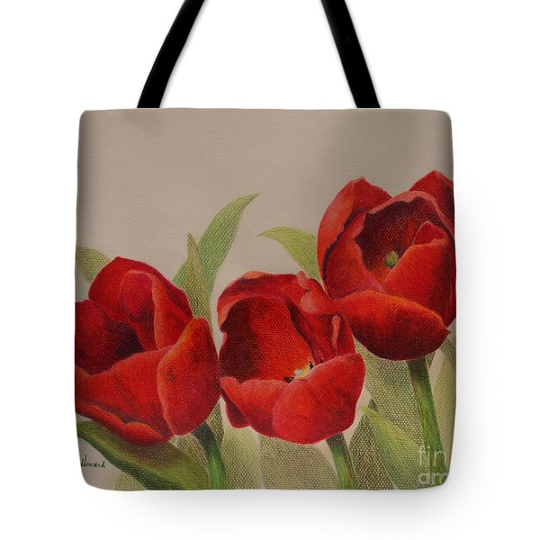 Tote Bag featuring the drawing Tulip Trio by Phyllis Howard