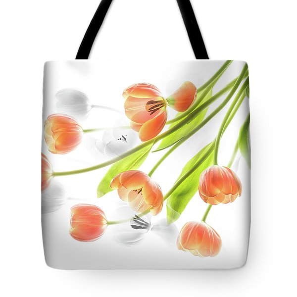 A Creative Presentation Of A Bouquet Of Tulips. Tote Bag
