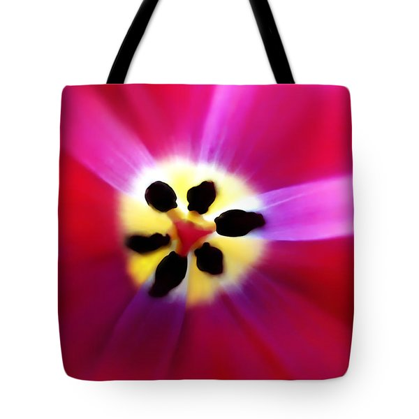 Tulip Vivid Floral Abstract Tote Bag by Menega Sabidussi
