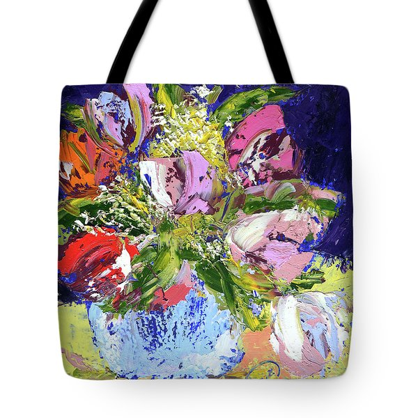Tulips And Gypsophila Tote Bag