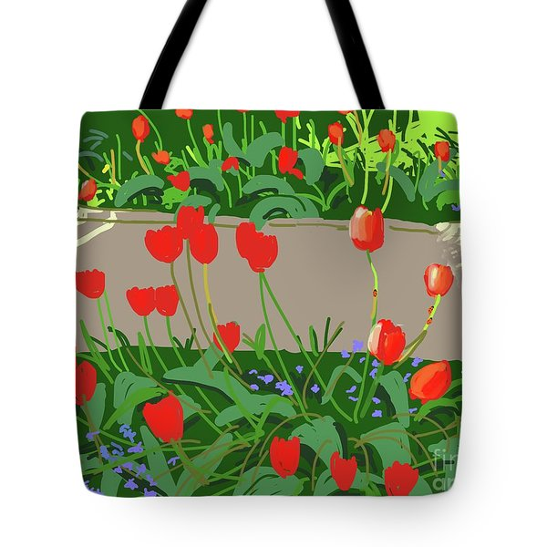 Tulips And Ladybirds Tote Bag