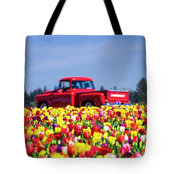 Tulips And Red Chevy Truck Tote Bag