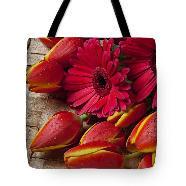 Tulips And Red Daisies  Tote Bag by Garry Gay