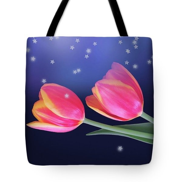 Tulips And Stars Tote Bag