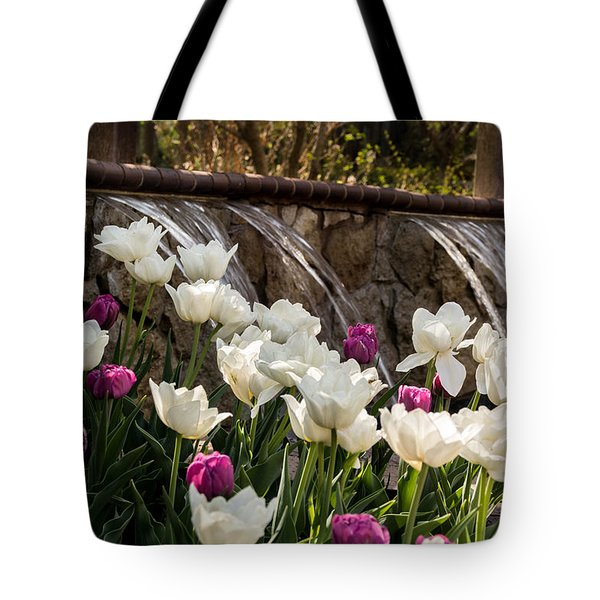 Tote Bag featuring the photograph Tulips And Waterfall by Jay Stockhaus