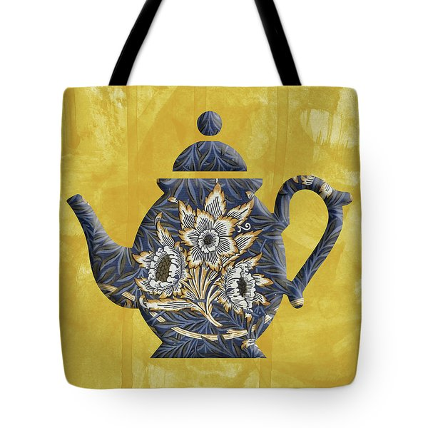 Tulips And Willow Pattern Teapot Tote Bag