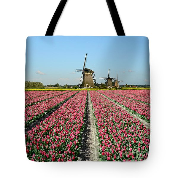 Tulips And Windmills In Holland Tote Bag