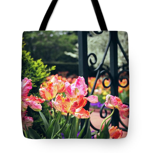 Tulips At The Garden Gate Tote Bag by Jessica Jenney