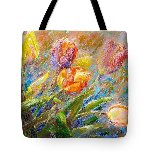 Tote Bag featuring the painting Tulips by Bonnie Goedecke