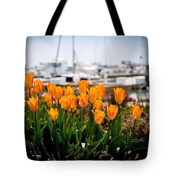 Tulips By The Harbor Tote Bag