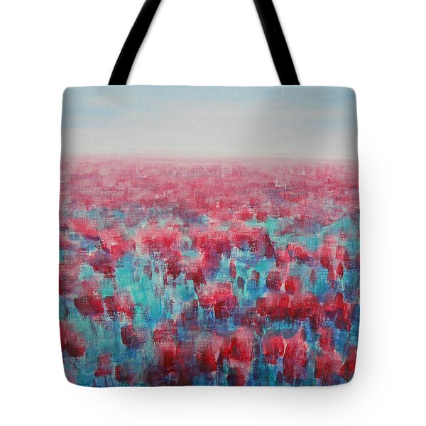 Tote Bag featuring the painting Tulips Dance by Jane See