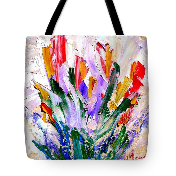 Tote Bag featuring the painting Tulips by Fred Wilson