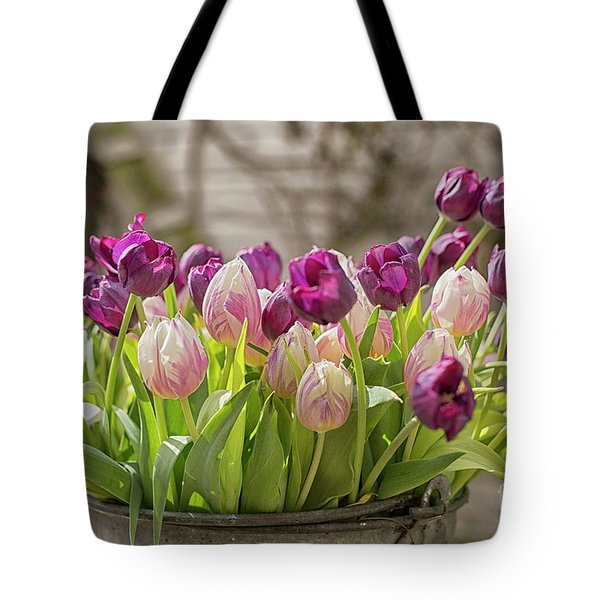 Tote Bag featuring the photograph Tulips In A Bucket by Patricia Hofmeester