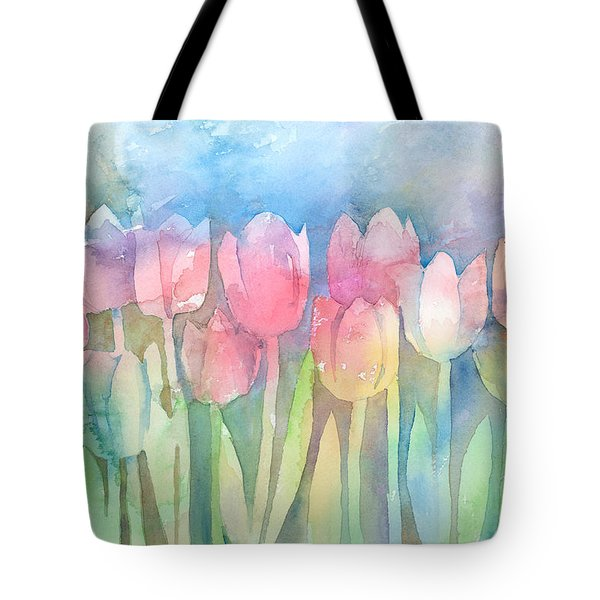 Tulips In A Row Tote Bag by Arline Wagner