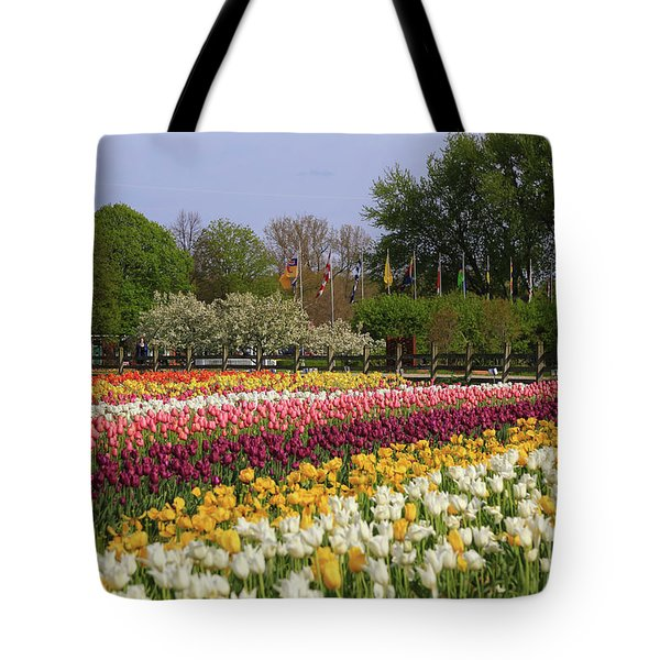 Tulips In Rows Tote Bag