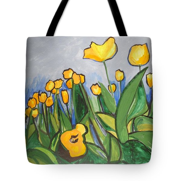 Tote Bag featuring the painting Tulips In Springtime by Esther Newman-Cohen