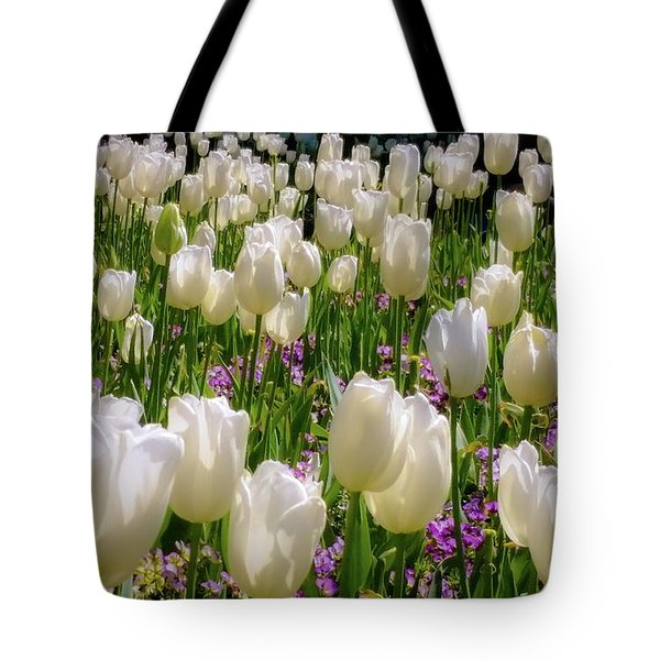 Tulips In White Tote Bag