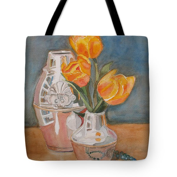 Tulips Jade And Books Tote Bag by Jenny Armitage