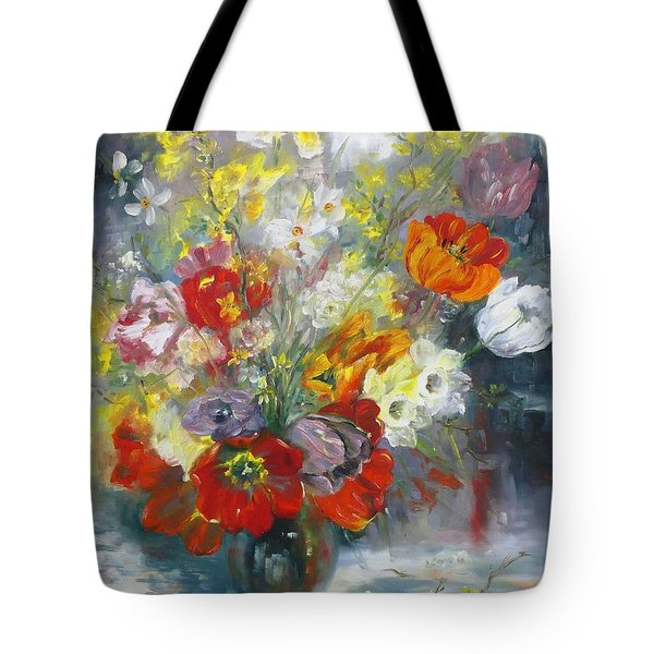 Tulips, Narcissus And Forsythia Tote Bag