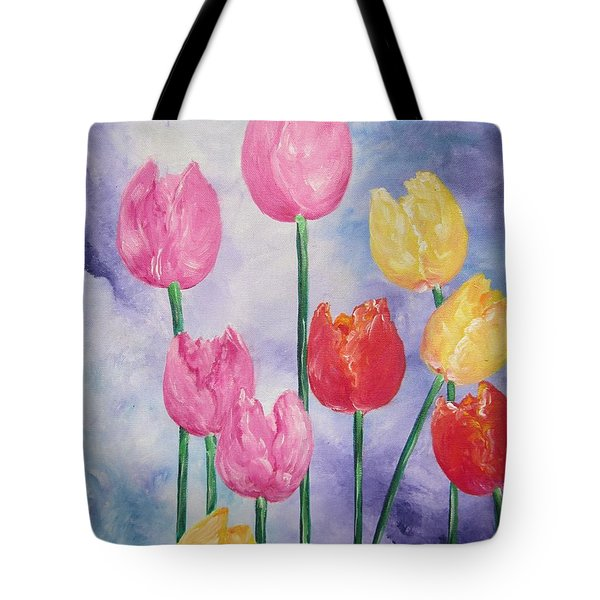 Ten  Simple  Tulips  Pink Red Yellow                                Flying Lamb Productions   Tote Bag