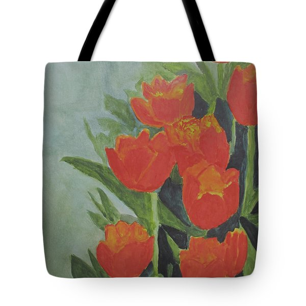 Tote Bag featuring the painting Tulips by Sandy McIntire
