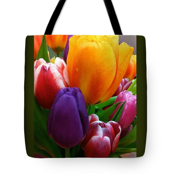 Tote Bag featuring the photograph Tulips Smiling by Marie Hicks