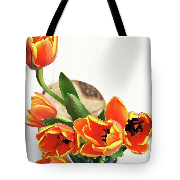 Tote Bag featuring the pyrography Tulips by Stephanie Frey