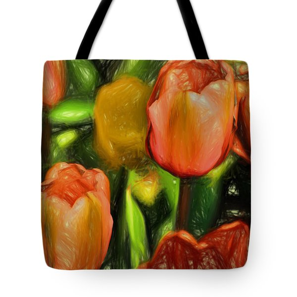 Tote Bag featuring the digital art Tulips  by Terry Cork