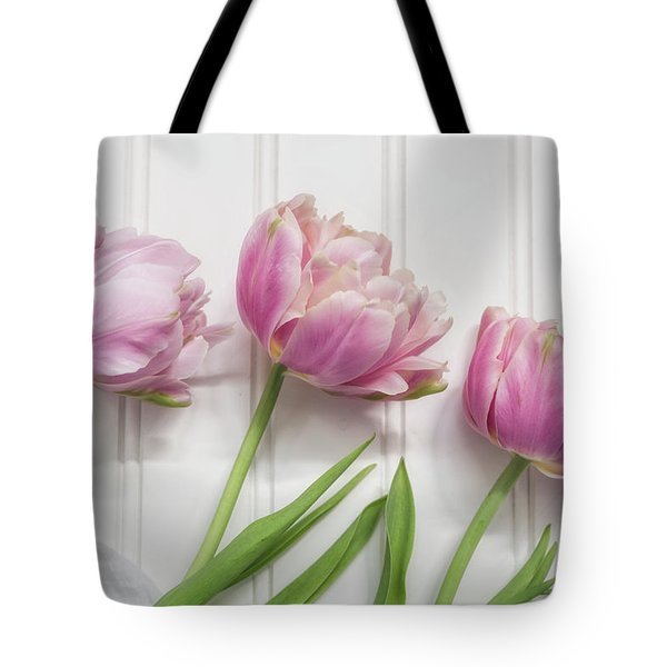 Tote Bag featuring the photograph Tulips Three by Kim Hojnacki
