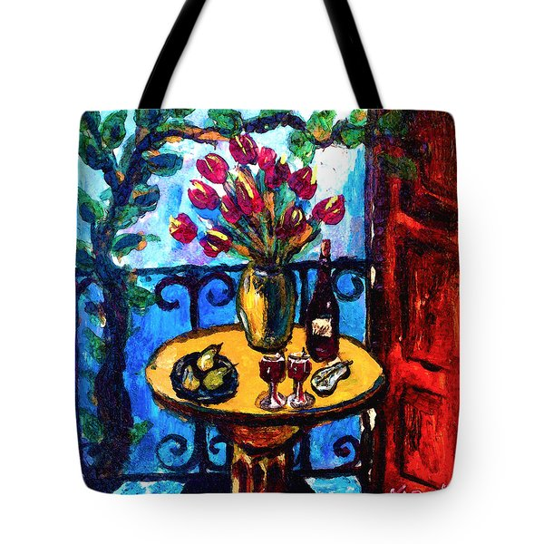 Tulips Wine And Pears Tote Bag