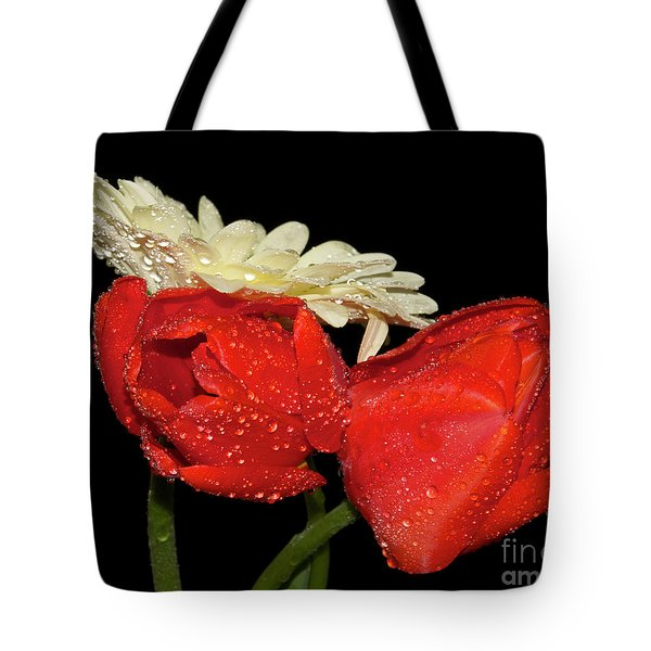 Tote Bag featuring the photograph Tulips With Gerber by Elvira Ladocki