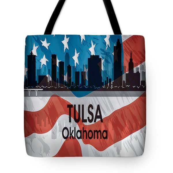 Tulsa Ok American Flag Vertical Tote Bag