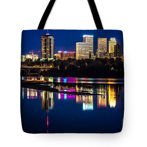 Tulsa Skyline At Twilight Tote Bag by Tamyra Ayles