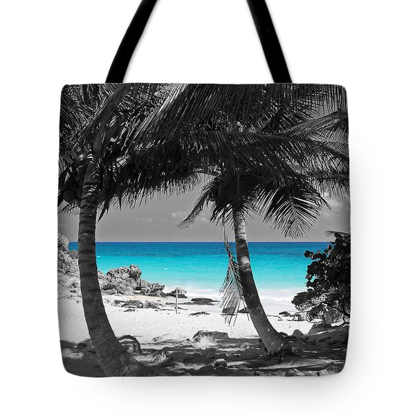 Tulum Mexico Beach Color Splash Black And White Tote Bag