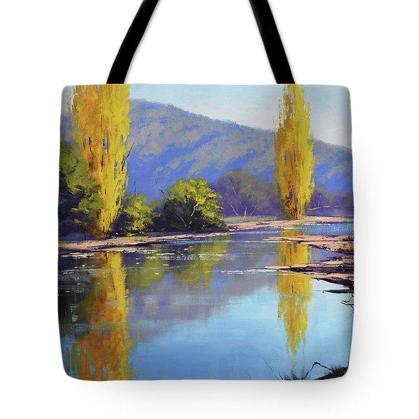 Tumut River Poplars Tote Bag