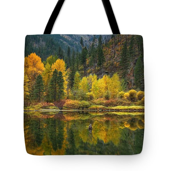 Tumwater Reflections Tote Bag by Lynn Hopwood